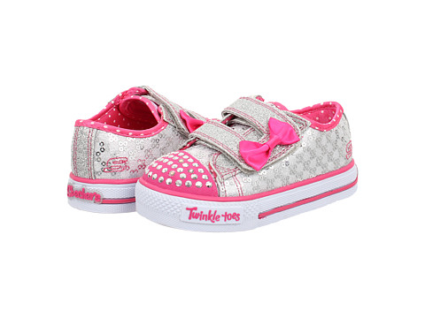 SKECHERS KIDS - Shuffles - Sweet Step Lights 10284N (Toddler/Little Kid) (Silver/Hot Pink) Girls Shoes