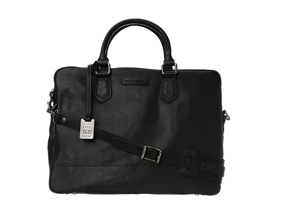 Frye - James Slim Work (Black Tumbled Full Grain) Handbags