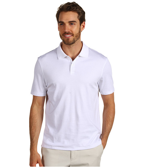 Calvin Klein - S/S 2 Button Liquid Cotton Interlock Polo (White) Men's Short Sleeve Pullover