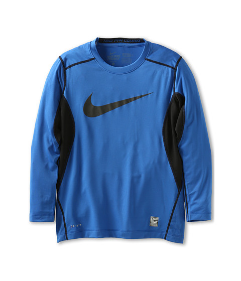 Nike Kids - Core Fitted Swoosh Long-Sleeve Top (Big Kids) (Game Royal/Black/Black) Boy's Long Sleeve Pullover
