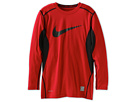 Nike Kids Core Fitted Swoosh Long-Sleeve Top (Big Kids) (Gym Red/Black/Black)