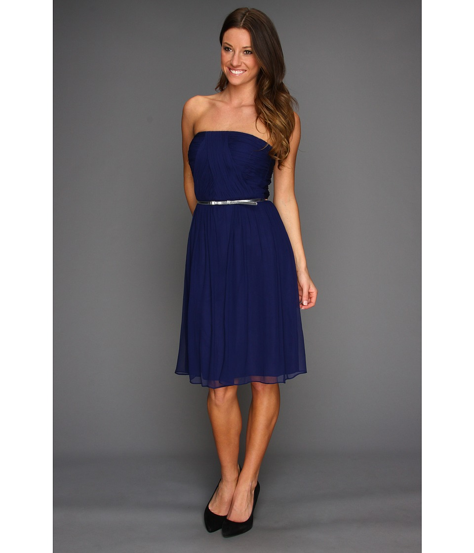 Donna Morgan - Donna Strapless Belted Chiffon Dress (Midnight) Women's Dress