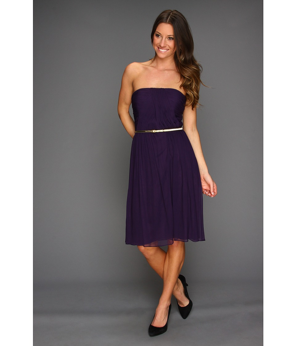 Donna Morgan - Donna Strapless Belted Chiffon Dress (Amethyst) Women's Dress