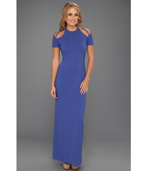 Halston Heritage - SS Gown with Shoulder Cut-Out (Ultramarine) Women's Dress