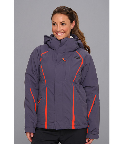 The North Face - Kira Triclimate Jacket (Greystone Blue/Greystone Blue/Spicy Orange/Dark Navy Blue/TNF Wh) Women's Coat