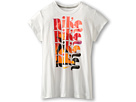 Nike Kids Repeat Run Tee (Little Kids/Big Kids) (White/Dark Grey Heather)