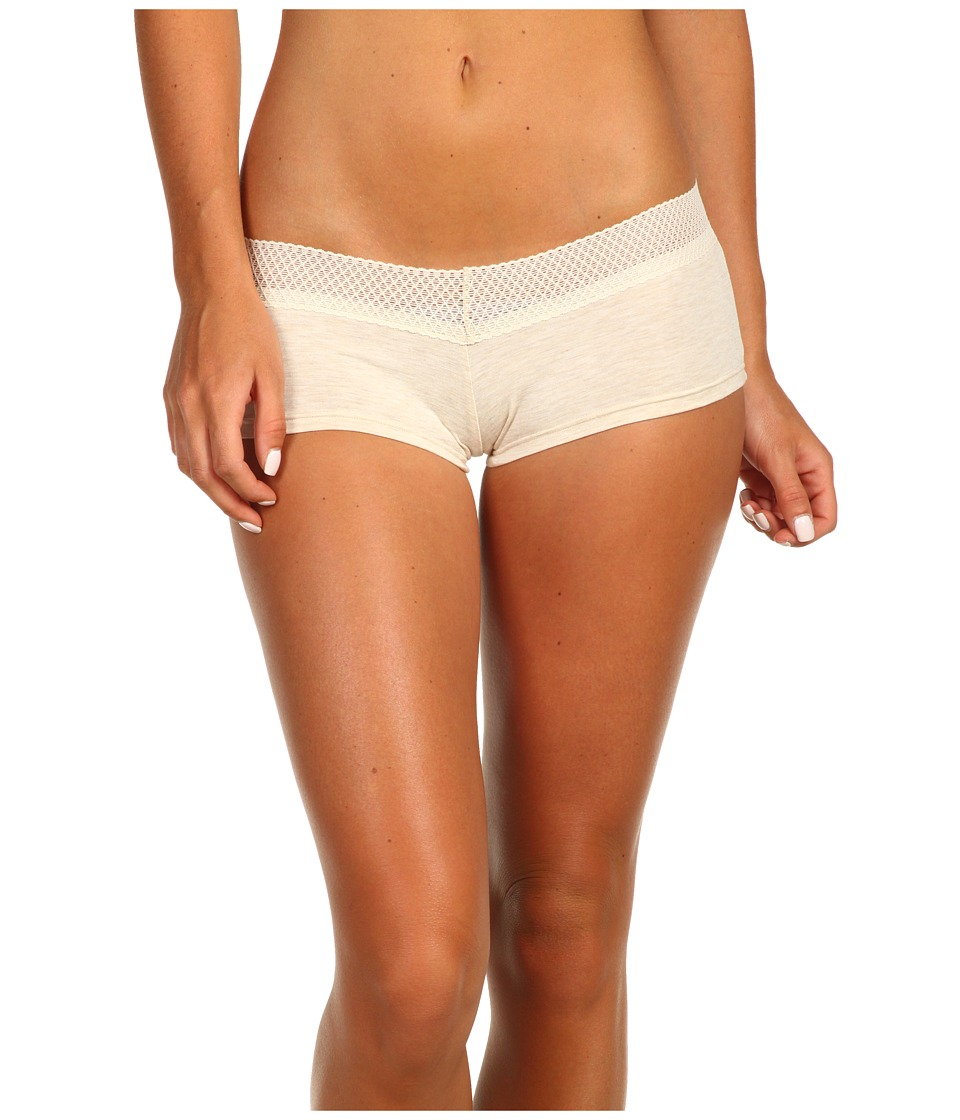 Splendid - Essential Mesh Lace Girl Short (Heather Oatmeal) Women's Underwear