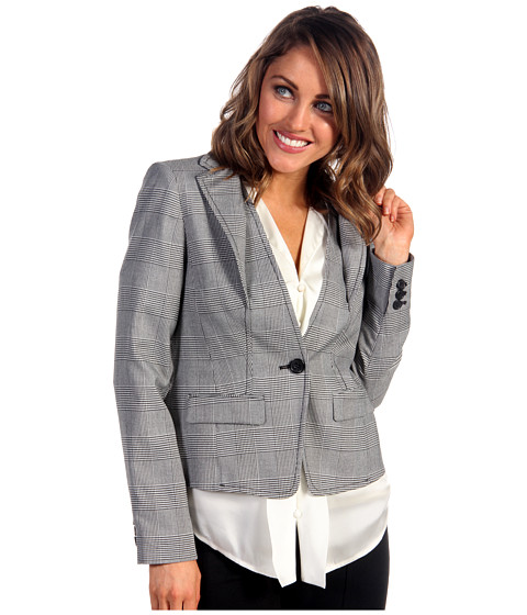 Anne Klein Petite - Petite Glen Plaid Blazer (Black/Camellia Multi) Women