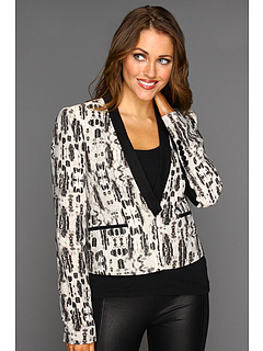 SALE! $99.99 - Save $148 on BCBGMAXAZRIA Guy Printed Tuxedo Jacket (Black Combo) Apparel - 59.68% OFF $248.00