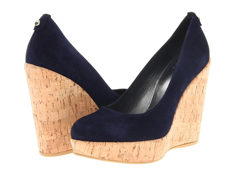 Stuart Weitzman Corkswoon Nice Blue Suede Womens Wedge Shoes