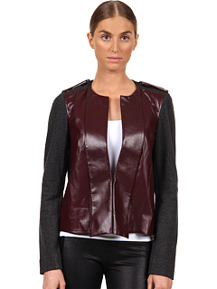 SALE! $269.99 - Save $328 on Rachel Roy Leather Mix Jacket (Plum Grey Melange) Apparel - 54.85% OFF $598.00