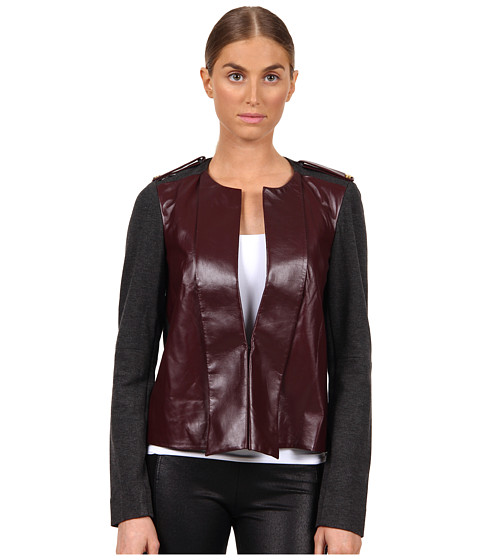 Rachel Roy - Leather Mix Jacket (Plum/Grey Melange) Women's Coat