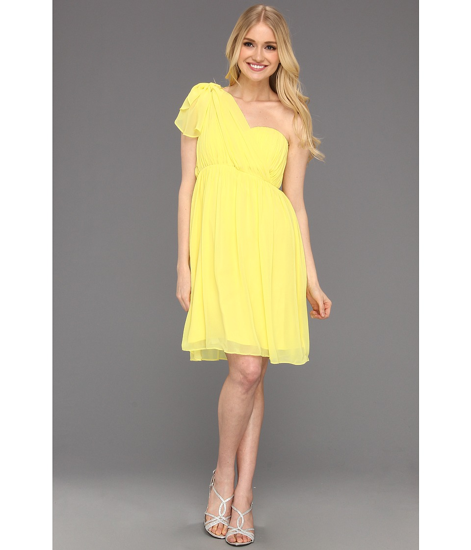 Donna Morgan - Blaire Sweetheart Multi Directional Bustier w/ Skirt Panels (Lemonade) Women's Dress