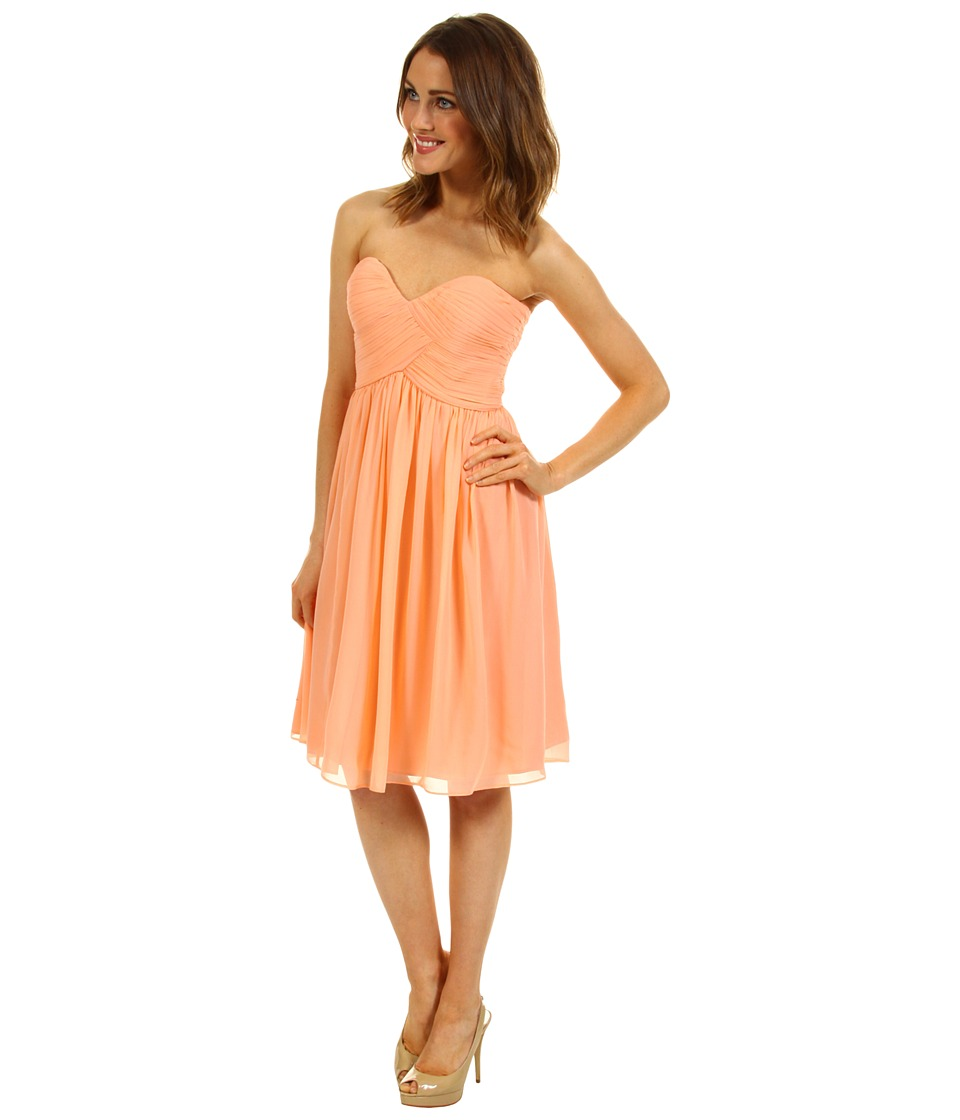 Donna Morgan - Morgan Strapless Sweetheart Chiffon (Peach Fuzz) Women's Dress