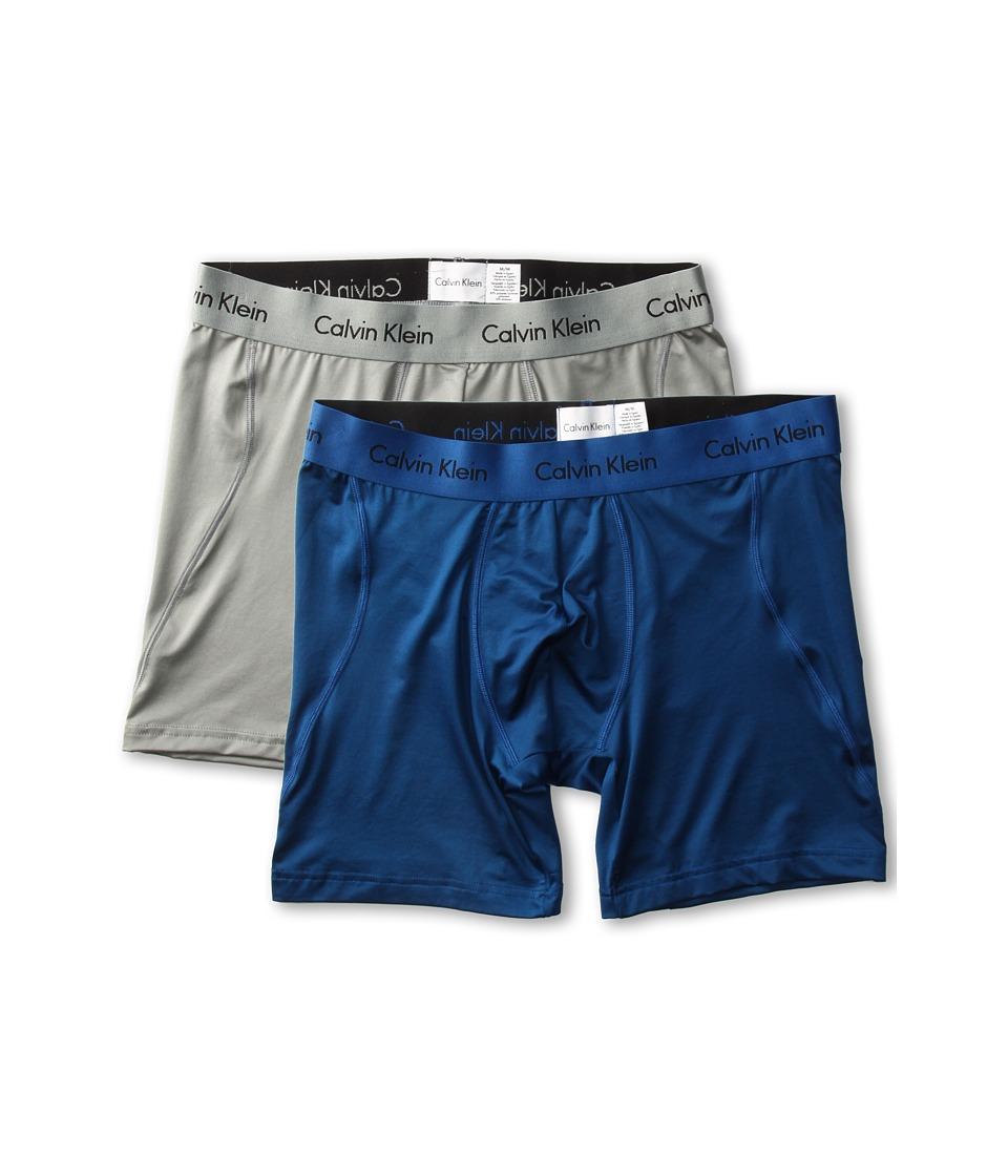 Calvin Klein Underwear Microfiber Stretch 2 Pack Boxer Brief U8722 Steel Original Mens Blue