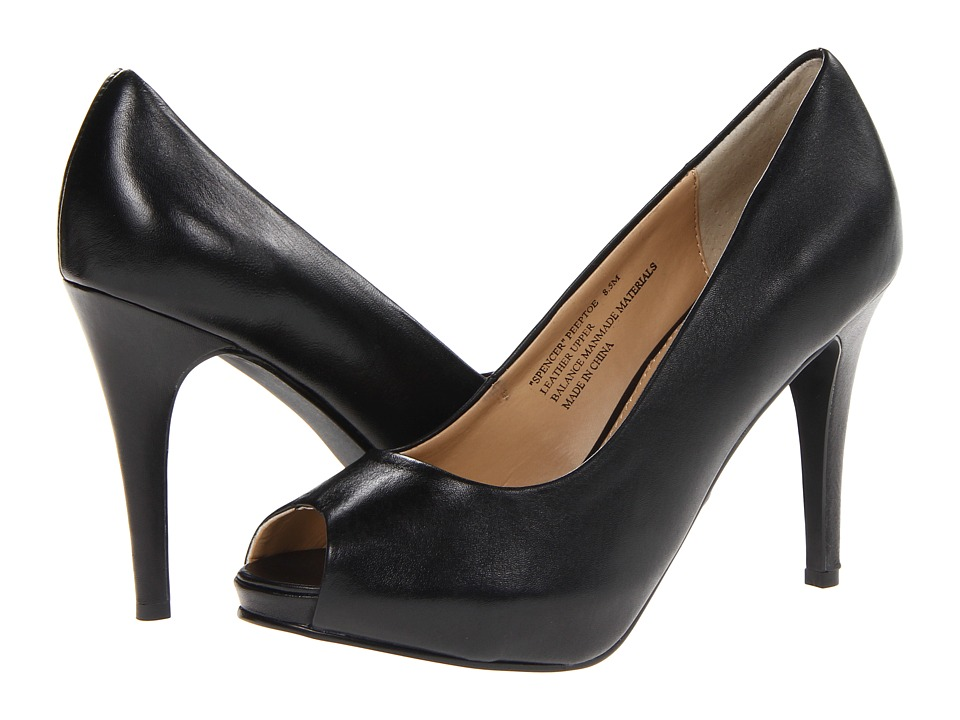 rsvp - Spencer Peep Toe Pump (Black Leather) High Heels