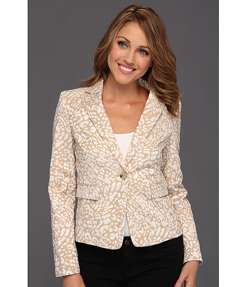 Anne Klein Petite - Petite Leopard Jacquard Jacket (Oak/Camellia Multi) Women