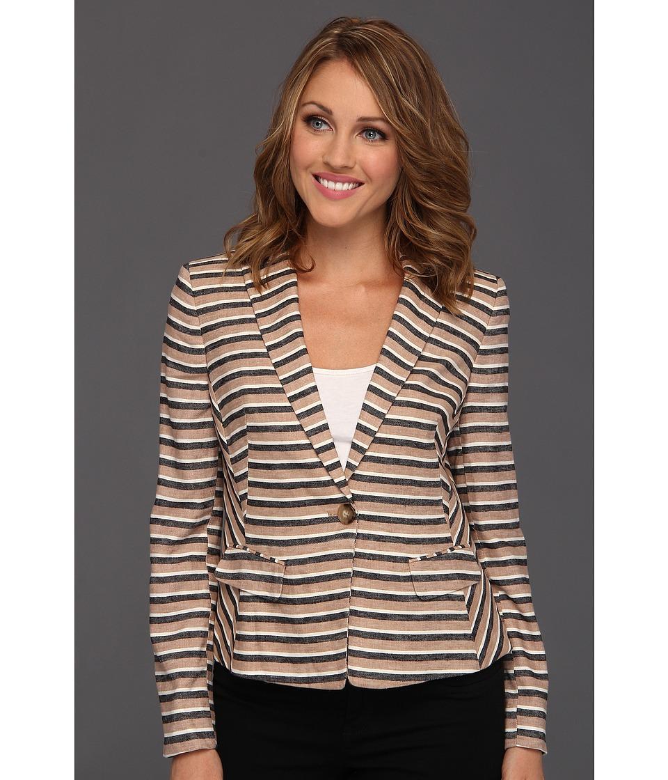 Image of Anne Klein Petite - Petite Linen Stripe Blazer (Dark Oak Multi) Women's Jacket