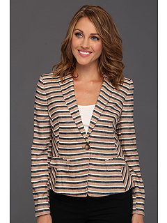 SALE! $94.99 - Save $74 on Anne Klein Petite Petite Linen Stripe Blazer (Dark Oak Multi) Apparel - 43.79% OFF $169.00