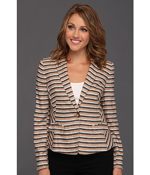 Anne Klein Petite - Petite Linen Stripe Blazer (Dark Oak Multi) Women's Jacket