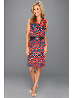 SALE! $81.99 - Save $67 on Anne Klein Petite Petite Ikat Print V Neck Dress (Navy Multi) Apparel - 44.97% OFF $149.00