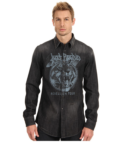 Just Cavalli - Shirt with Studded Collar and Graphic (Denim) Men