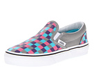 Vans Kids - Classic Slip-On (Little Kid/Big Kid) ((Multi Check) Charcoal/Hot Pink) - Footwear