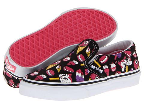 Vans Kids Classic Slip-On (Little Kid/Big Kid) ((Ice Dreams) Black/True White) Girls Shoes