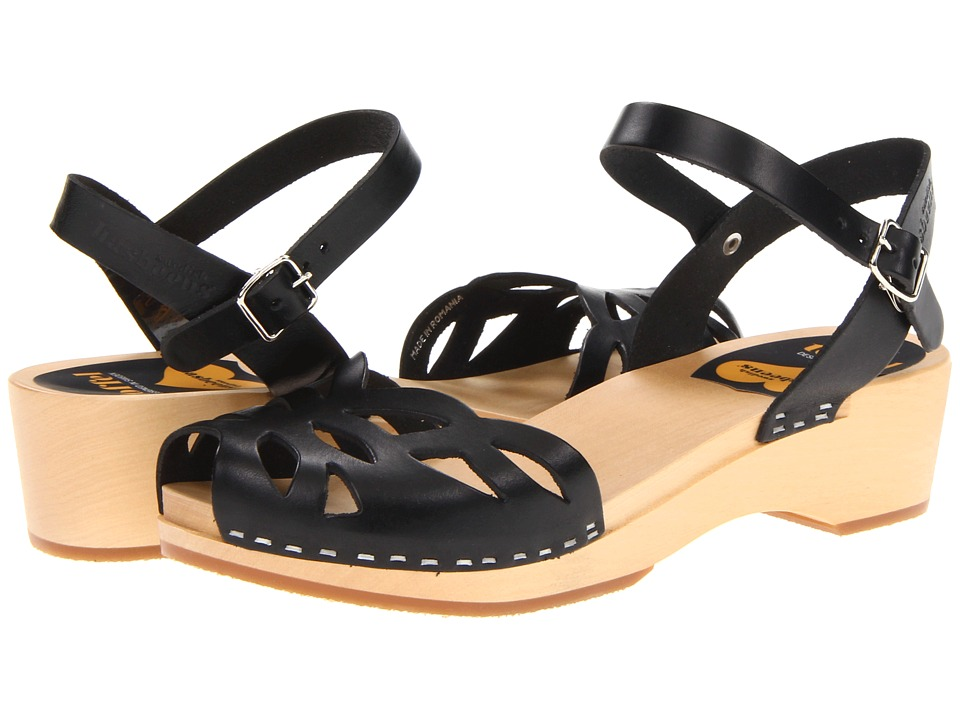 Swedish Hasbeens - Ornament Clog (Black/Nature) Women's Sandals
