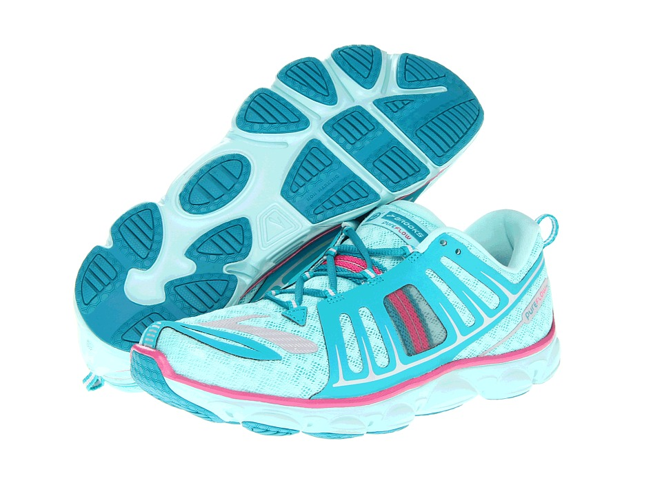 Brooks Kids - Pureflow 2 (Little Kid/Big Kid) (Aqua Splash/Tile Blue/Silver/Rose Violet/Black) Girls Shoes