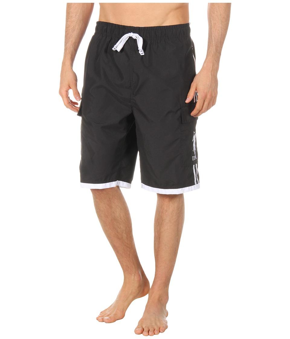 U.S. POLO ASSN. - 11 Double Side Stripe Cargo (Black) Men's Swimwear