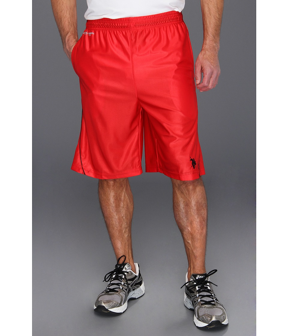 U.S. POLO ASSN. - 11 Poly Dazzle with Side Piping (Engine Red) Men's Swimwear