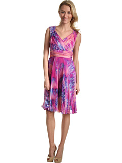 SALE! $45.99 - Save $122 on Suzi Chin for Maggy Boutique S S V Neck Dress With Pleat Skirt (Bluebird Multi) Apparel - 72.62% OFF $168.00