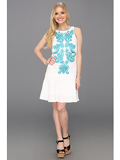 SALE! $51.99 - Save $116 on Donna Morgan Embroidered Front Dropped Torso Dress With Hem Flounce (White Teal) Apparel - 69.05% OFF $168.00
