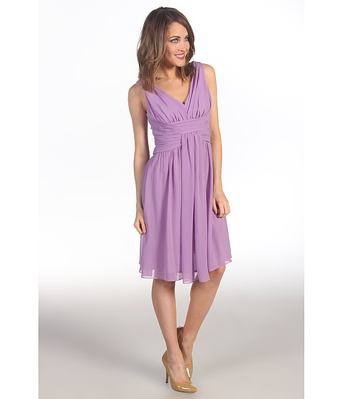 Suzi Chin for Maggy Boutique - Sleeveless V-Neck Dress With Ruching (Orchid) Women's Dress