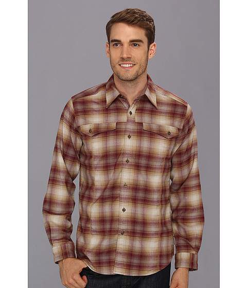 Royal Robbins - Taos Heathered L/S Flannel (Dark Port) Men's Long Sleeve Button Up