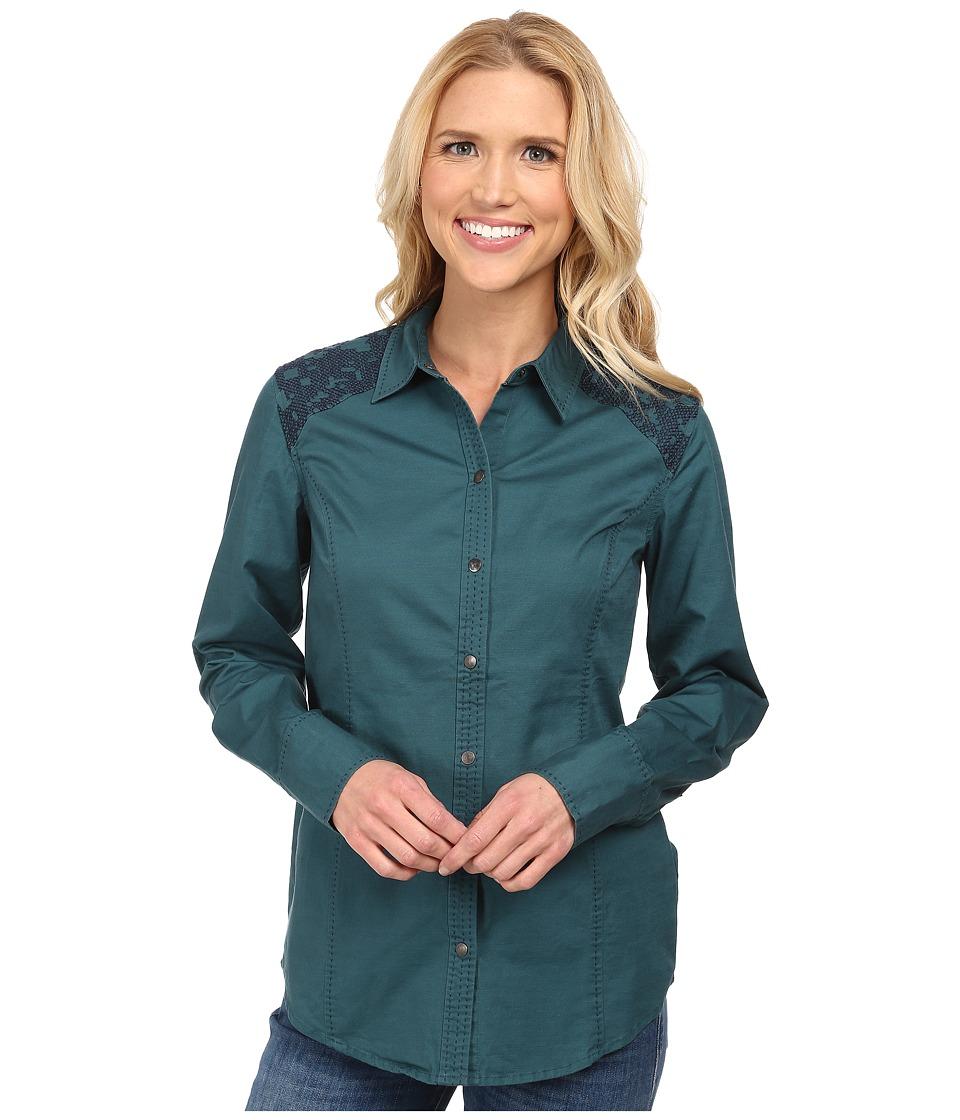 Royal Robbins - Prairie Cross Stitch L/S Shirt (Dark Teal) Women's Long Sleeve Button Up