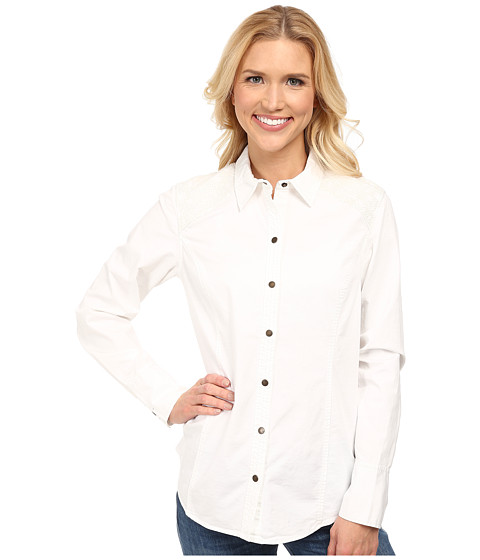 Royal Robbins - Prairie Cross Stitch L/S Shirt (White) Women's Long Sleeve Button Up