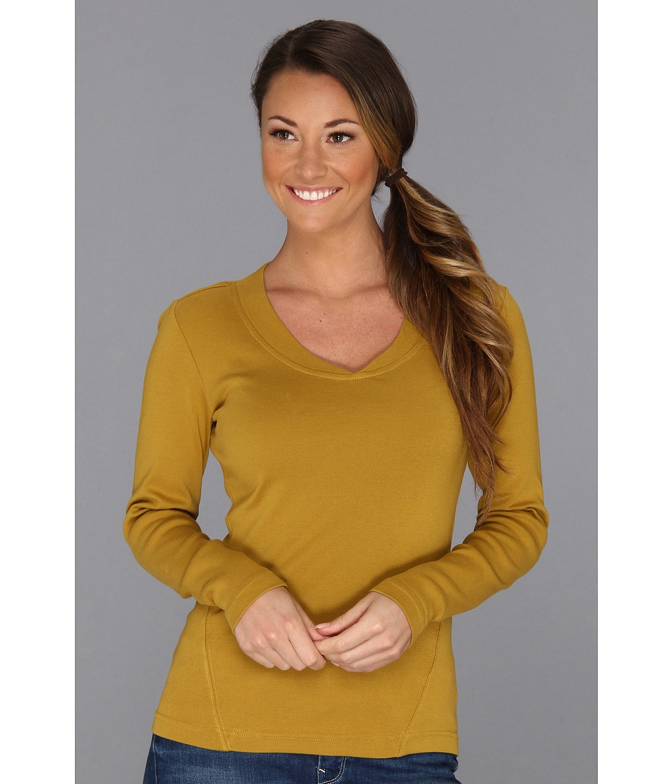 Royal Robbins - Kick Back L/S V-Neck Top (Dull Brass) Women's Long Sleeve Pullover