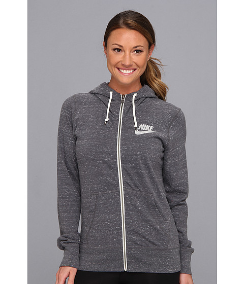 Nike - Gym Vintage Full-Zip Hoodie (Dark Grey/Sail) Women's Sweatshirt