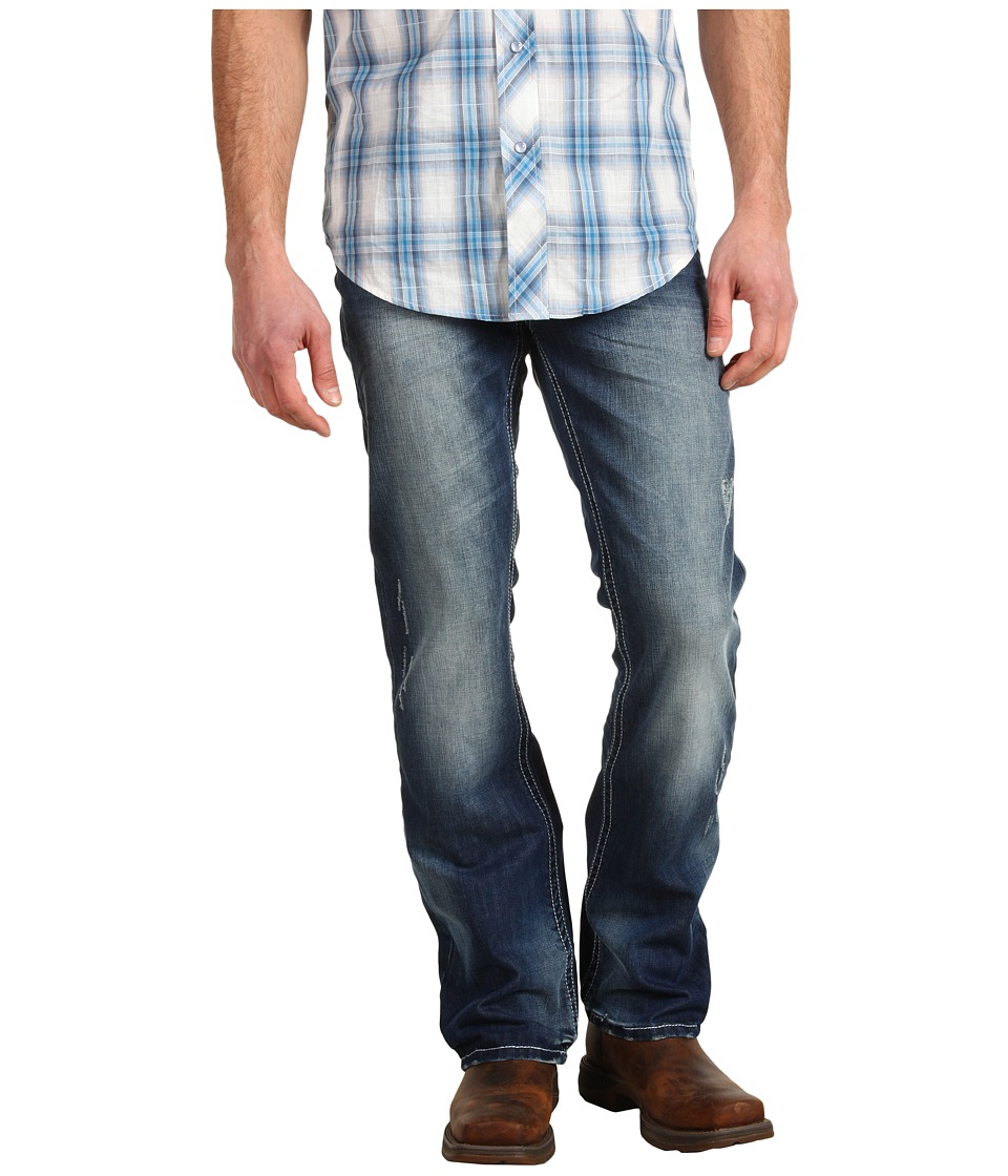 Stetson - Stetson Rocks Fit with X Back Pocket Embroidery (Blue) Men's Clothing