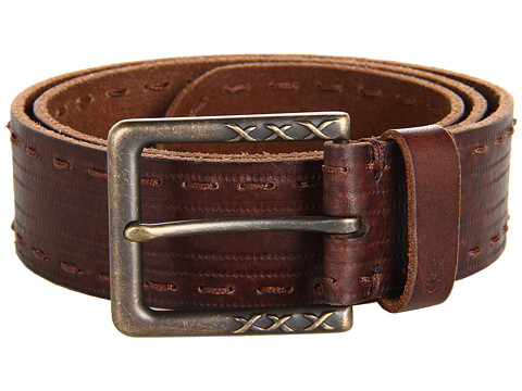 John Varvatos - 39mm Harness on a Stitch Detailed Strap (Dark Brown) Men