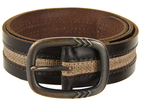 John Varvatos - 39mm Centerbar Buckle on a Strap with Canvas Inlay (Brown) Men