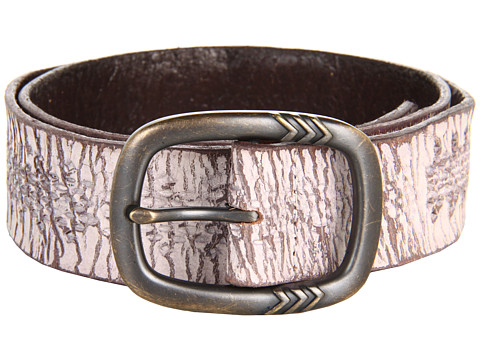 John Varvatos - 40mm Detailed Centerbar Buckle on a Washed Embossed Strap (White) Men's Belts