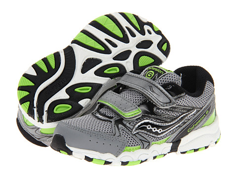 Saucony Kids Baby Cohesion 6 HL (Infant/Toddler) (Grey/Black/Slime) Boys Shoes