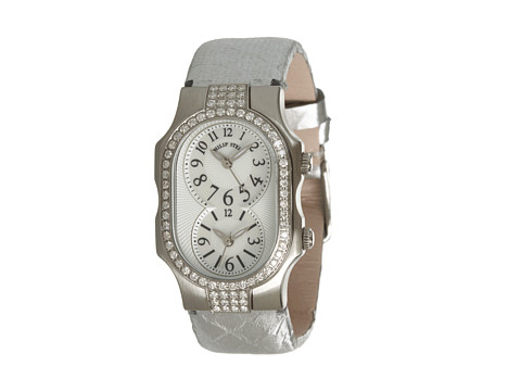 Philip Stein - Small Signature Double Diamond Watch On Silver Satin Snake Strap (Stainless Steel/Silver) Watches