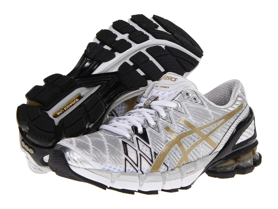 ASICS - Gel-Kinsei 5 (White/Gold/Silver) Women's Running Shoes