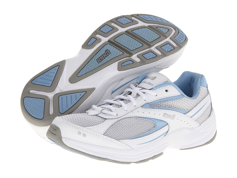 Ryka - Sport Walker 6 (White/Blue Bell/Chrome Silver) Women's Walking Shoes