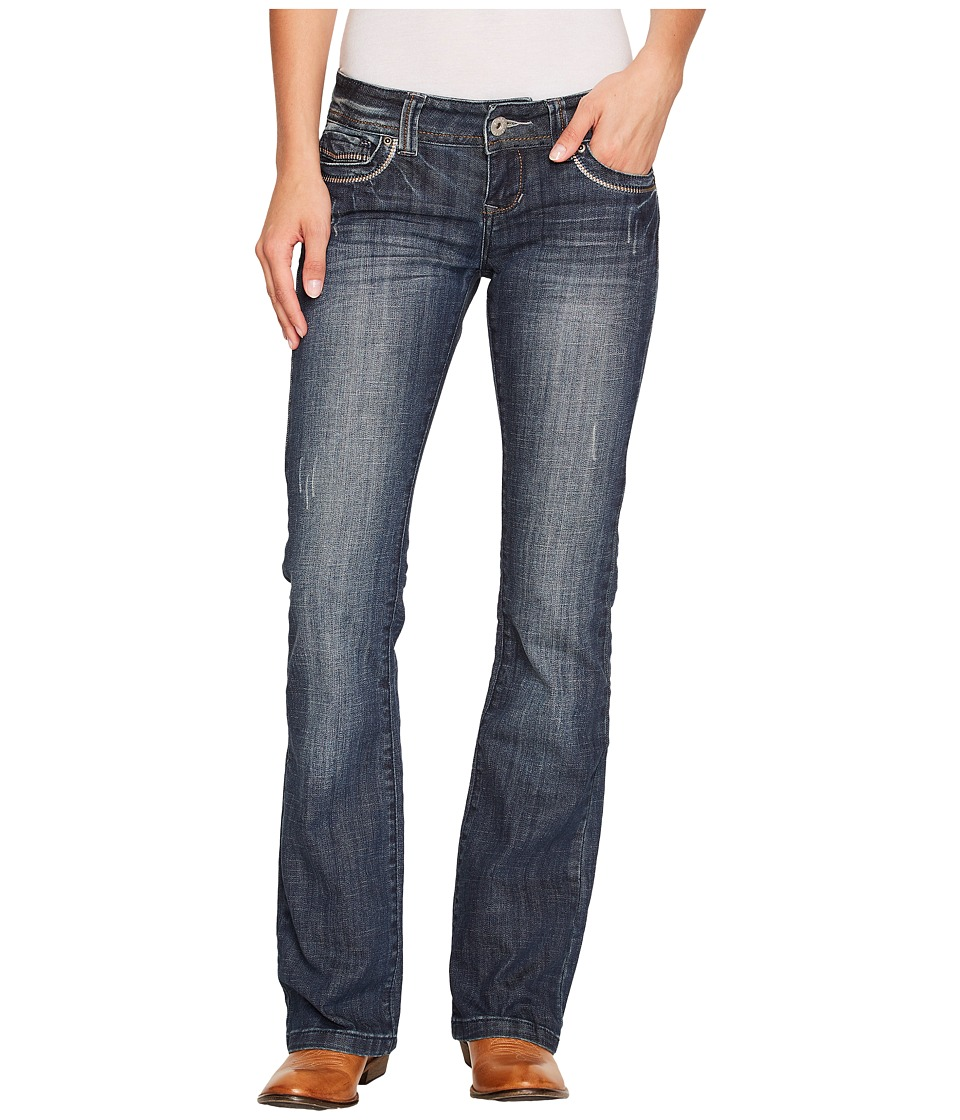 Stetson - Stetson 818 Fit Medium Wash with Fancy Contrast Stitching (Blue) Women's Clothing
