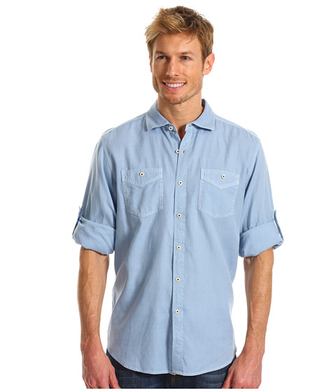 Tommy Bahama - Island Modern Fit Sand City Oxford L/S Shirt (Ice Cube Blue) Men's Long Sleeve Button Up